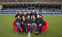 Bill Turnbull sits on the sofa with his Breakfast Show team for the day & Wycombe Head of Media Matt Cecil (back row 2nd right) During BBC Breakfast as they air their live broadcast on Tuesday morning, presented by Bill Turnbull for his penultimate appearance on the programme at Adams Park, High Wycombe, England on 23 February 2016. Photo by Andy Rowland.