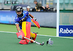 The Hague, Netherlands, June 05: Aisling D Hooghe #21 of Belgium cleans the circle during the field hockey group match (Women - Group A) between Belgium and Australia on June 5, 2014 during the World Cup 2014 at Kyocera Stadium in The Hague, Netherlands. Final score 2:3 (1:1) (Photo by Dirk Markgraf / www.265-images.com) *** Local caption ***