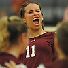 Amanda DeWitt #11 of Whitman and teammates celebrate as they close in on victory during the fifth set of a non-league varsity girls volleyball match against Centereach at New York Institute of Technology in Old Westbury on Wednesday, Sept. 20, 2017. Whitman rallied from a two-set deficit to win 21-25, 16-25, 25-16, 25-22, 25-19.