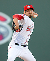 Left handed pitcher Andrew Miller (30) of the Boston Red Sox throws a pitch in a Major League rehab assignment with the Greenville Drive in a game against the Lakewood BlueClaws on April 7, 2012, at Fluor Field at the West End in Greenville, South Carolina. (Tom Priddy/Four Seam Images)