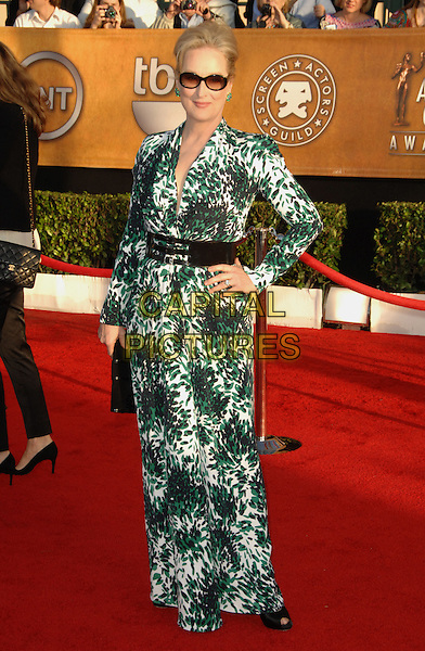 MERYL STREEP.Arrivals at the 16th Annual Screen Actors Guild Awards Held At The Shrine Auditorium in Los Angeles, California, USA..January 23rd, 2010 .SAG SAGs full length sunglasses shades black green waist belt sleeved maxi peep toe shoes sleeves dress print pattern clutch bag white printed hand on hip shoulder pads.CAP/RKE/DVS.©DVS/RockinExposures/Capital Pictures
