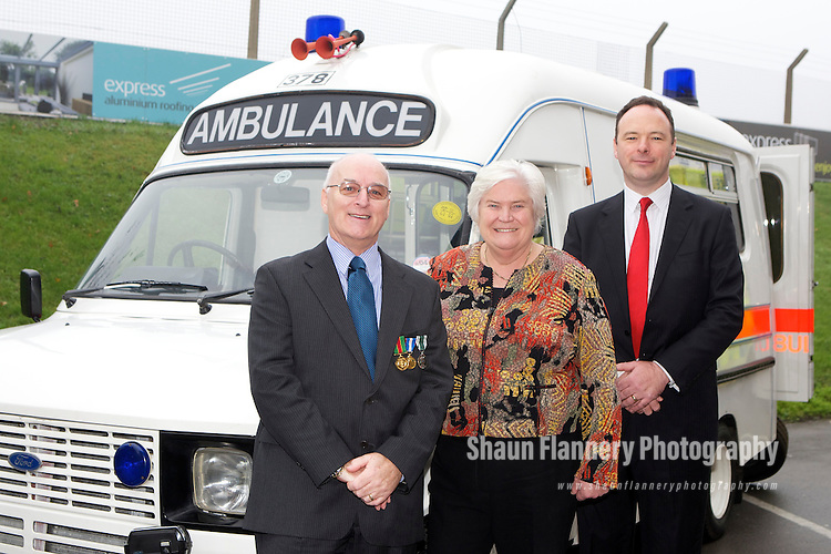 Pix: Shaun Flannery/shaunflanneryphotography.com...COPYRIGHT PICTURE>>SHAUN FLANNERY>01302-570814>>07778315553>>..19th November 2010............Yorkshire Ambulance Service, Long Service and Retirement Awards, Elland Road Banqueting Suite, Leeds..Della Cannings QPM, Chairman and Simon Worthington, Acting Chief Executive pictured with Peter Goddard.