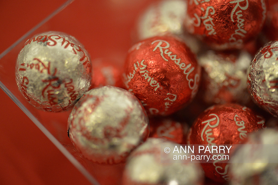 Foil wrapped chocolate candy refreshments, at Fotofoto Gallery Opening Reception, on November 8, 2014, at Huntington, Long Island, New York, USA