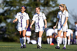 21 October 2012: Northwestern's Natalie Lagunas (20), Julie Sierks (3), and Nicole Jewell (5). The Northwestern University Wildcats played the University of Iowa Hawkeyes at Lakeside Field in Evanston, Illinois in a 2012 NCAA Division I Women's Soccer game. Northwestern won the game 1-0.