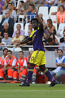 Valencia, Spain. Thursday 19 September 2013<br /> Pictured: Wilfried Bony of Swansea celebrating his opening goal<br /> Re: UEFA Europa League game against Valencia C.F v Swansea City FC, at the Estadio Mestalla, Spain,