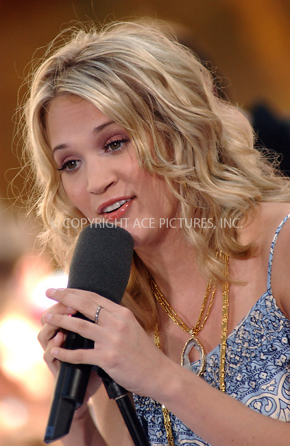 WWW.ACEPIXS.COM . . . . . ....NEW YORK, NEW YORK, JUNE 14TH 2005....Carrie Underwood performs live on the NBC Today Show in Rockefeller Center.....Please byline: KRISTIN CALLAHAN - ACE PICTURES.. . . . . . ..Ace Pictures, Inc:  ..Craig Ashby (212) 243-8787..e-mail: picturedesk@acepixs.com..web: http://www.acepixs.com