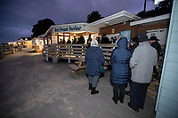 BNPS.co.uk (01202 558833)<br /> Pic: CorinMesser/BNPS<br /> <br /> Overnight queues for the 15 beach huts available at Avon Beach in Dorset today.<br /> <br /> We will fight them for the beach huts...<br /> <br /> A group of hardy souls queued up a day early in the freezing cold to secure a sought-after beach hut for the summer.<br /> <br /> They have gone to extreme lengths to snap up the 15 timber cabins available at Avon Beach, Christchurch, Dorset.<br /> <br /> The first in the queue, Jan Ryder, was in position at 6.15am on Sunday, almost 26 hours before the administration office opened at 7.30am today.<br /> <br /> Matthew Cox, 60, a mechanical engineer, was in position just before 7am. He remembers being taken to the beach by his late mother Margaret as a child and has queued up each year for a hut since her passing three years ago.