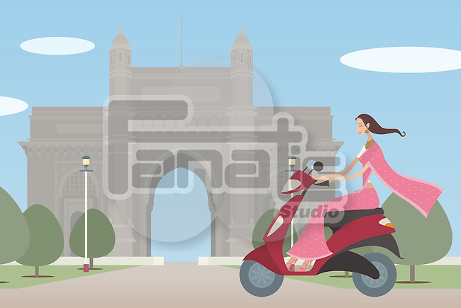 Woman riding a motor scooter in front of a monument, Gateway Of India, Mumbai, Maharashtra, India