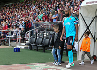Fleetwood Town's Nathan Pond leads his team out onto the pitch<br /> <br /> Photographer Andrew Kearns/CameraSport<br /> <br /> The EFL Sky Bet League One - Northampton Town v Fleetwood Town - Saturday August 12th 2017 - Sixfields Stadium - Northampton<br /> <br /> World Copyright &copy; 2017 CameraSport. All rights reserved. 43 Linden Ave. Countesthorpe. Leicester. England. LE8 5PG - Tel: +44 (0) 116 277 4147 - admin@camerasport.com - www.camerasport.com