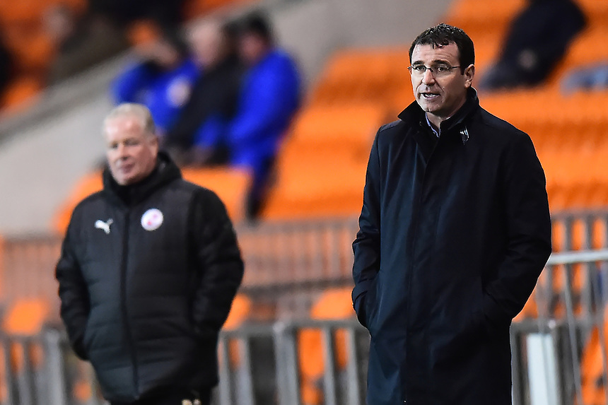 Blackpool manager Gary Bowyer looks on<br /> <br /> Photographer Richard Martin-Roberts/CameraSport<br /> <br /> The EFL Sky Bet League Two - Blackpool v Crawley Town - Tuesday 7th February 2017 - Bloomfield Road - Blackpool<br /> <br /> World Copyright &copy; 2017 CameraSport. All rights reserved. 43 Linden Ave. Countesthorpe. Leicester. England. LE8 5PG - Tel: +44 (0) 116 277 4147 - admin@camerasport.com - www.camerasport.com