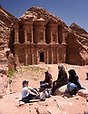 A PIECE OF JORDAN - TRAVEL FEATURE. JOURNALIST HAZEL SOUTHAM CHATS TO LOCALS IN FRONT OF THE MONASTERY AT THE ANCIENT NABATEAN SITE OF PETRA, JORDAN.  PHOTO BY CLARE KENDALL. 07971 477316.