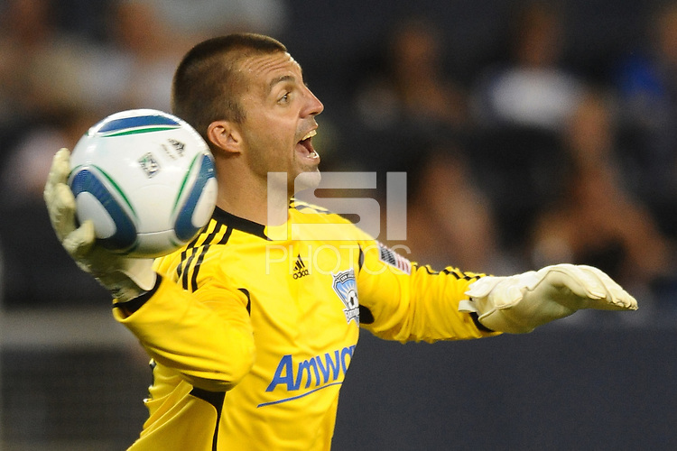 Jon Busch San Jose. Earthquakes goalkeeper throws the ball out...Sporting KC defeated San Jose Earthquakes 1-0 at LIVESTRONG Sporting Park, Kansas City ,Kansas,..