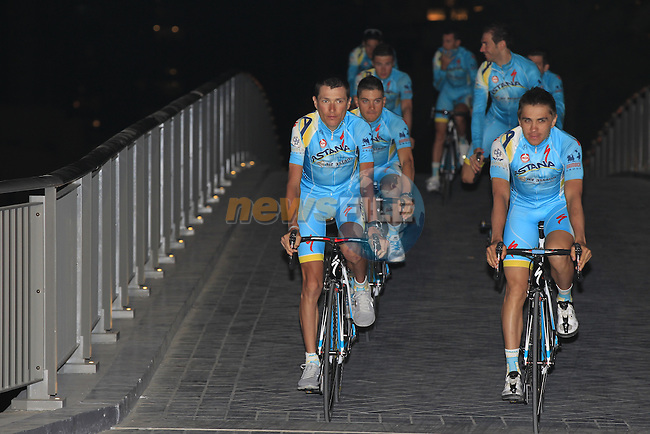 Astana Pro Team during the opening ceremony of the inaugural Dubai Tour 2014 held in Emaar Burj Park at the foot of the Burj Khalifa Tower, Dubai. 4th February 2014.<br /> Picture: Eoin Clarke www.newsfile.ie