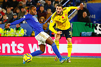9th November 2019; King Power Stadium, Leicester, Midlands, England; English Premier League Football, Leicester City versus Arsenal; Sead Kolasinac of Arsenal clears under pressure from Ricardo Pereira of Leicester City - Strictly Editorial Use Only. No use with unauthorized audio, video, data, fixture lists, club/league logos or 'live' services. Online in-match use limited to 120 images, no video emulation. No use in betting, games or single club/league/player publications