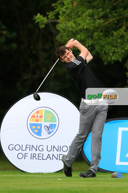 Jake Whelan (MU) on the 1st tee during the Final of the AIG Senior Cup at the AIG Cups &amp; Shields National Finals in Carton House on the 19/09/15.<br /> Picture: Thos Caffrey   Golffile