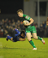 4th January 2014; Matt Healy, Connacht, is tackled by Rhys Ruddock, Leinster. Rabodirect Pro12, Connacht v Leinster, Sportsground, Galway. Picture credit: Tommy Grealy/actionshots.ie.
