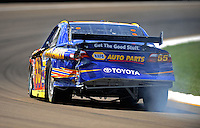 Aug. 7, 2009; Watkins Glen, NY, USA; NASCAR Sprint Cup Series driver Patrick Carpentier after crashing during practice for the Heluva Good at the Glen. Mandatory Credit: Mark J. Rebilas-
