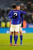 9th March 2020; King Power Stadium, Leicester, Midlands, England; English Premier League Football, Leicester City versus Aston Villa; James Justin and Jamie Vardy of Leicester City celebrate their 4-0 victory at the final whistle