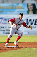 August 3rd 2008:  Second baseman Daniel Hargrave of the Williamsport Crosscutters, Class-A affiliate of the Philadelphia Phillies, during a game at Dwyer Stadium in Batavia, NY.  Photo by:  Mike Janes/Four Seam Images