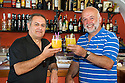 "Alvaio Maigiotta (left) and Tony Alonzi (right) enjoy a ""Martini Doctor Who"" cocktail in the Beyond the Clouds bar in Picinisco, Italy."