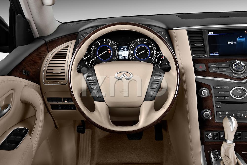 Steering wheel view of a 2011 Infiniti QX56