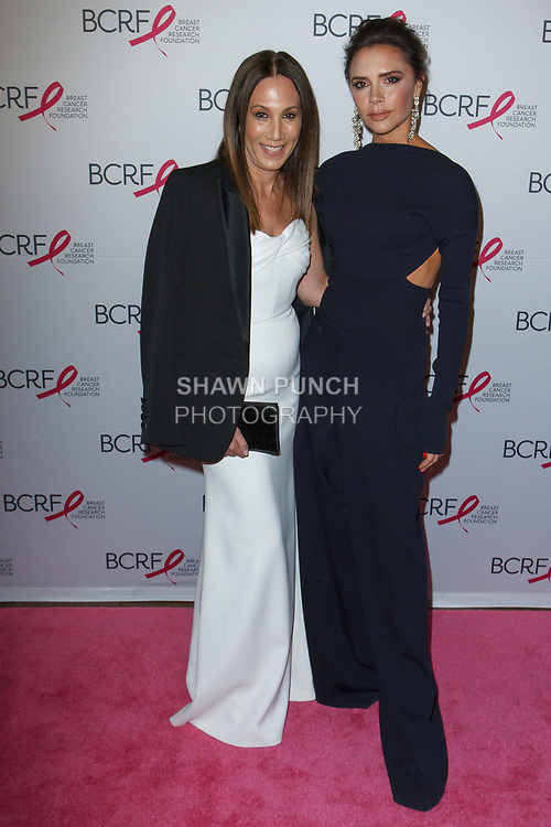 "(L-R) Jane Hertzmark and Victoria Beckham attends The Breast Cancer Research Foundation ""Super Nova"" Hot Pink Party on May 12, 2017 at the Park Avenue Armory in New York City."