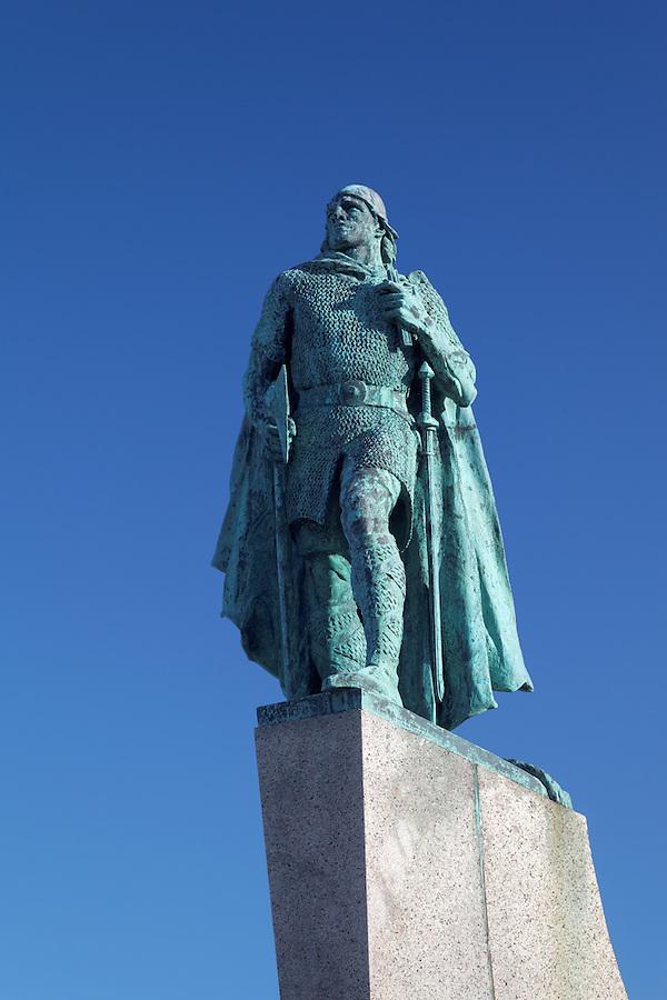 Statue of Norse Viking explorer Leifur Eiríksson below a clear blue sky, Reykjavik, Iceland