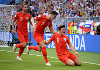 SAMARA - RUSIA, 07-07-2018: Harry MAGUIRE (#6) jugador de Inglaterra celebra después de anotar el primer gol de su equipo a Suecia durante partido de cuartos de final por la Copa Mundial de la FIFA Rusia 2018 jugado en el estadio Samara Arena en Samara, Rusia. / Harry MAGUIRE (#6) player of England celebrates after scoring the first goal of his team to Sweden during match of quarter final for the FIFA World Cup Russia 2018 played at Samara Arena stadium in Samara, Russia. Photo: VizzorImage / Julian Medina / Cont
