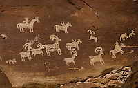 Ute Petroglyphs Depicting Horse and Rider with Bighorn Sheep and Dog-Like Animals, Carved Between 1650 and 1850, Arches National Park, Utah, US