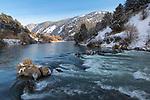 Idaho, Southeastern,Preston, Oneida Narrows. The Bear River cascades over boulders on a winter morning.