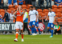 Blackpool's Jay Spearing reacts after his side went 2-0 down<br /> <br /> Photographer Alex Dodd/CameraSport<br /> <br /> The EFL Sky Bet League One - Blackpool v Portsmouth - Saturday August 11th 2018 - Bloomfield Road - Blackpool<br /> <br /> World Copyright &copy; 2018 CameraSport. All rights reserved. 43 Linden Ave. Countesthorpe. Leicester. England. LE8 5PG - Tel: +44 (0) 116 277 4147 - admin@camerasport.com - www.camerasport.com