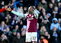 Albert Adomah of Aston Villa celebrates scoring Aston Villa's first goal.<br /> <br /> Photographer Leila Coker/CameraSport<br /> <br /> The EFL Sky Bet Championship - Aston Villa v Birmingham City - Sunday 11th February 2018 - Villa Park - Birmingham<br /> <br /> World Copyright &copy; 2018 CameraSport. All rights reserved. 43 Linden Ave. Countesthorpe. Leicester. England. LE8 5PG - Tel: +44 (0) 116 277 4147 - admin@camerasport.com - www.camerasport.com