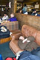Volunteer Vet Paul Pifer Catches Nap @ McGrath Chkpt 2005 Iditarod Weather Layover