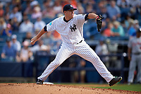 New York Yankees relief pitcher Johnny Barbato (83) delivers a pitch during a Spring Training game against the Detroit Tigers on March 2, 2016 at George M. Steinbrenner Field in Tampa, Florida.  New York defeated Detroit 10-9.  (Mike Janes/Four Seam Images)