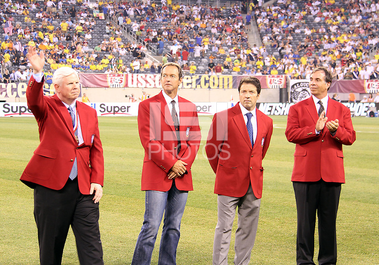Kyle Rote Jr., Thomas Dooley, Preki and Bruce Arena of the USA 2010 inductees into the hall of fame during an international friendly match against Brazil in Giants Stadium, on August 10 2010, in East Rutherford, New Jersey.Brazil won 2-0.