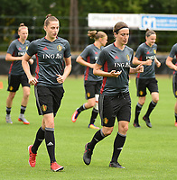 20170722 - RIJEN , NETHERLANDS :  Heleen Jaques (L) and Imke Courtois (R)  pictured during the training on the pitch of VV Rijen , The Netherlands PHOTO SPORTPIX.BE | DIRK VUYLSTEKE