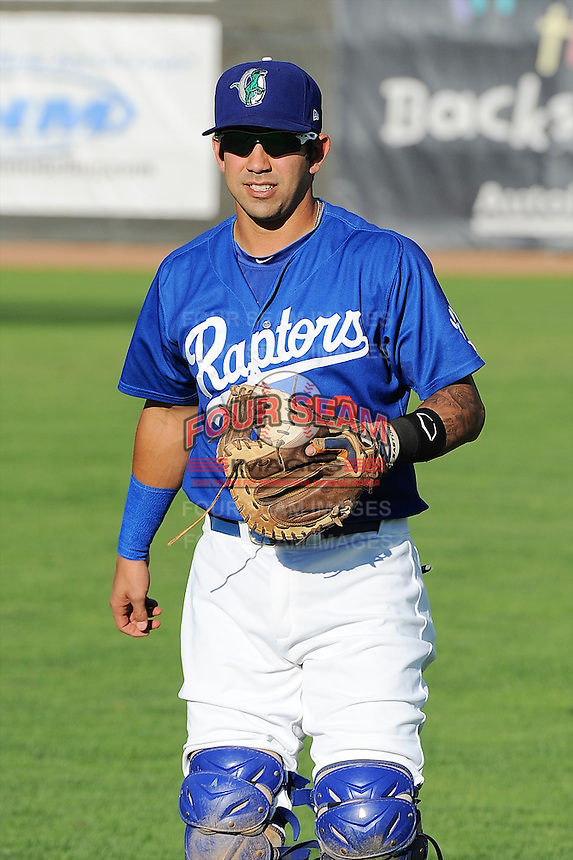 Dimitri Papantonopoulos (10) of the Ogden Raptors prior to the game against the Great Falls Voyagers at Lindquist Field on August 13, 2013 in Ogden Utah. (Stephen Smith/Four Seam Images)