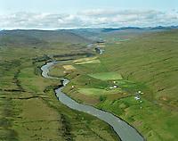 Eiríksstaðir og Þorskagerði, Jökuldalshreppur..Eriksstadir and Thorskagerdi in Jokuldalshreppur. Viewing southwest.