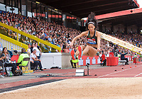 Katarina Johnson-Thompson (Great Britain) competing in the Women's long jump during the Muller Grand Prix  IAAF Diamond League meeting at Alexander Stadium, Perry Barr, Birmingham.<br /> Picture by Alan Stanford +44 7915 056117<br /> 18/08/2018