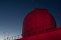 Observatory Dome with Star Trails and Illuminated by Red Light