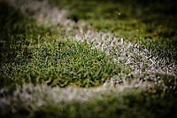 Frost forms on the grass at Nethermoor Park<br /> <br /> Photographer Alex Dodd/CameraSport<br /> <br /> The Emirates FA Cup Second Round - Guiseley v Fleetwood Town - Monday 3rd December 2018 - Nethermoor Park - Guiseley<br />  <br /> World Copyright © 2018 CameraSport. All rights reserved. 43 Linden Ave. Countesthorpe. Leicester. England. LE8 5PG - Tel: +44 (0) 116 277 4147 - admin@camerasport.com - www.camerasport.com