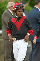 HOT SPRINGS, AR - APRIL 15: Jockey Ricardo Santana, Jr. before the running of the Arkansas Derby at Oaklawn Park on April 15, 2017 in Hot Springs, Arkansas. (Photo by Justin Manning/Eclipse Sportswire/Getty Images)