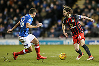 Blackburn Rovers' Charlie Mulgrew challenges Portsmouth's Gareth Evans <br /> <br /> Photographer Andrew Kearns/CameraSport<br /> <br /> The EFL Sky Bet League One - Portsmouth v Blackburn Rovers - Tuesday 13th February 2018 - Fratton Park - Portsmouth<br /> <br /> World Copyright &copy; 2018 CameraSport. All rights reserved. 43 Linden Ave. Countesthorpe. Leicester. England. LE8 5PG - Tel: +44 (0) 116 277 4147 - admin@camerasport.com - www.camerasport.com