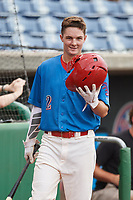 Clearwater Threshers center fielder Mickey Moniak (2) on deck during a game against the St. Lucie Mets on August 11, 2018 at Spectrum Field in Clearwater, Florida.  St. Lucie defeated Clearwater 11-0.  (Mike Janes/Four Seam Images)