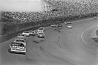 BROOKLYN, MI - AUGUST 11: Darrell Waltrip, driver of the #11 Junior Johnson Chevrolet, leads the field toward Turn 1 during the Champion Spark Plug 400 NASCAR Winston Cup race at the Michigan International Speedway near Brooklyn, Michigan, on August 11, 1985.