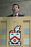 "© Joel Goodman - 07973 332324 . NO SYNDICATION PERMITTED . 08/11/2014 . Leeds , UK . ANDY BURNHAM at a meeting at Fred Longworth High School (motto on insignia "" Facta Non Verba "" - actions not words ), in his constituency of Leigh , as the Labour Shadow Health Secretary has been forced to deny that he has been planning for the departure of Labour leader Ed Miliband . Photo credit : Joel Goodman"