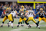 Green Bay Packers offensive linemen Josh Sitton (71), Scott Wells (63) and Daryn Colledge (73) pass block for quarterback Aaron Rodgers (12) during Super Bowl XLV against the Pittsburgh Steelers on Sunday, February 6, 2011, in Arlington, Texas. The Packers won 31-25. (AP Photo/David Stluka)