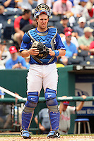Catcher John Buck during a break in the action against the Philadelphia Phillies at Kauffman Stadium in Kansas City, Missouri on June 10, 2007.  The Royals won 17-5.