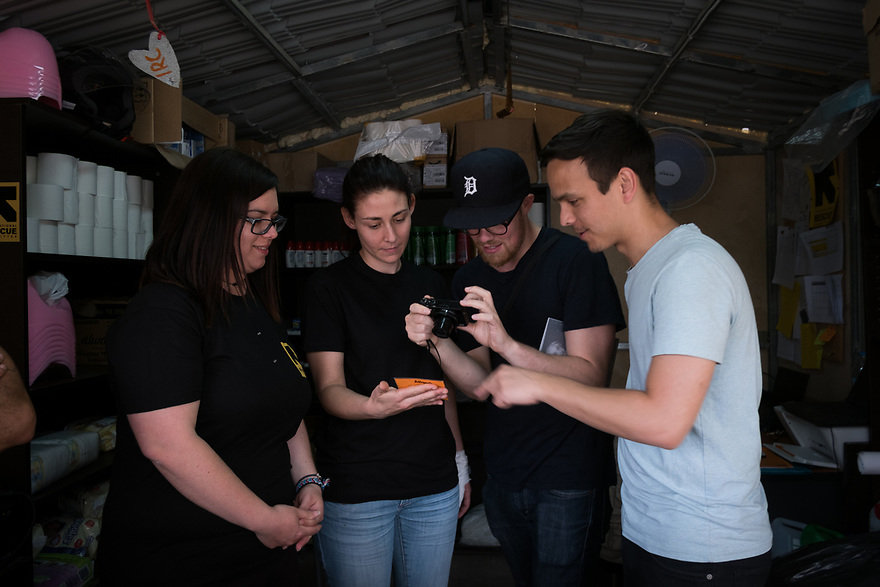 Mitch Moffit and Greg Brown, creators of ASAP Science YouTube Channel visit IRC's hygiene kiosk at Kara Tepe Site on the Greek island of Lesvos, where hundreds of refugees are accommodated as they wait to their procedure.
