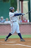 Mycal Jones Shortstop Danville Braves (Atlanta Braves) swings at pitch at Joe O'Brien Stadium August 17, 2009 in Elizabethton, TN (Photo by Tony Farlow/Four Seam Images)